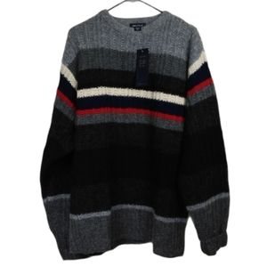 NWT Vintage Nautica XL Grey striped wool sweater